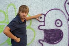 надпись на стенах мальчика Стоковая Фотография RF
