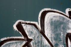 Надпись на стенах на зеленой предпосылке металла Стоковая Фотография RF