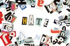 надпись ненависти стоковая фотография rf