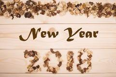 Надпись 2018 Нового Года высушенных цветков Стоковое фото RF