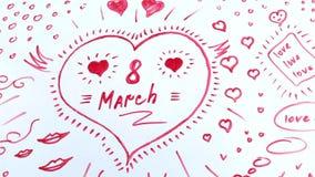 Надпись 8-ого марта в сердце акции видеоматериалы