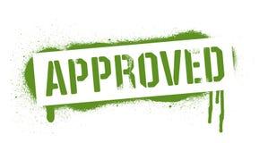 Надпись ОДОБРЕННАЯ восковкой Зеленая печать граффити на белой предпосылке Искусство улицы дизайна вектора иллюстрация вектора