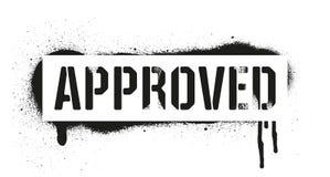 Надпись ОДОБРЕННАЯ восковкой Черная печать граффити на белой предпосылке Искусство улицы дизайна вектора иллюстрация вектора