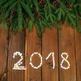 Надпись 2018 от зефира Новый Год предпосылки квадрат Стоковые Изображения RF