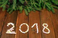Надпись 2018 от зефира Новый Год предпосылки Концепция Стоковые Фото