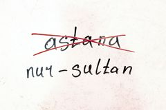 Надпись пересекла вне Астану, и имя нового города Nursultan, на естественной белой предпосылке с валютой  стоковые фотографии rf
