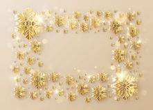 Надпись рамки шаблона рождества украшенная со снежинками сусального золота 10 eps иллюстрация штока