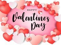 Надпись счастливого дня ` s валентинки каллиграфическая украшенная с красным сердцем и розовой предпосылкой также вектор иллюстра Стоковая Фотография RF
