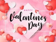 Надпись счастливого дня ` s валентинки каллиграфическая украшенная с красным сердцем и розовой предпосылкой иллюстрация брошюра,  Стоковое фото RF