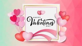 Надпись счастливого дня ` s валентинки каллиграфическая украшенная с красным сердцем и розовой предпосылкой также вектор иллюстра Стоковое фото RF