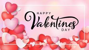 Надпись счастливого дня ` s валентинки каллиграфическая украшенная с красным сердцем и розовой предпосылкой иллюстрация брошюра,  Стоковые Фотографии RF