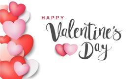 Надпись счастливого дня ` s валентинки каллиграфическая украшенная с красным сердцем и розовой предпосылкой иллюстрация брошюра,  Стоковая Фотография