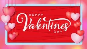 Надпись счастливого дня ` s валентинки каллиграфическая украшенная с красным сердцем и розовой предпосылкой иллюстрация брошюра,  Стоковые Фото