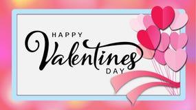Надпись счастливого дня ` s валентинки каллиграфическая украшенная с красным сердцем и розовой предпосылкой иллюстрация брошюра,  Стоковая Фотография RF