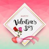 Надпись счастливого дня ` s валентинки каллиграфическая украшенная с красным сердцем и розовой предпосылкой иллюстрация брошюра,  Стоковые Изображения