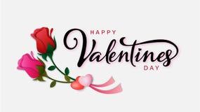 Надпись счастливого дня ` s валентинки каллиграфическая украшенная с красным сердцем и розовой предпосылкой также вектор иллюстра Стоковые Фотографии RF