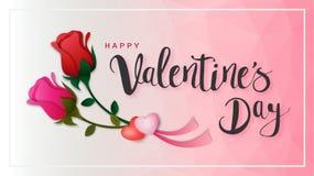 Надпись счастливого дня ` s валентинки каллиграфическая украшенная с красным сердцем и розовой предпосылкой иллюстрация брошюра,  Стоковое Фото