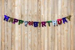 Надпись с днем рождения от пестротканых видов писем Стоковые Изображения