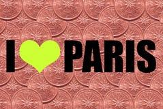 """Надпись """"я люблю шрифт Парижа внутри черный на предпосылке 2 центов евро стоковые фотографии rf"""