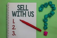 Надувательство текста почерка с нами Концепция знача онлайн продавая платформу ища crum отметки тетради электронной коммерции про стоковые изображения