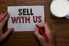 Надувательство текста сочинительства слова с нами Концепция дела для онлайн продавая платформы ища человек электронной коммерции  стоковая фотография