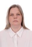 над белой женщиной стоковые изображения rf