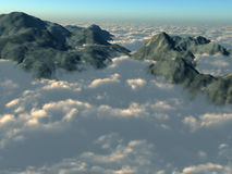 над верхними частями горы облаков Стоковое Изображение RF