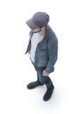 над взглядом парень в куртке бейсбольной кепки и джинсовой ткани Стоковое Изображение RF