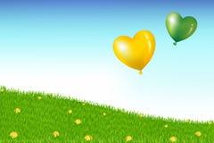 над воздушными шарами засевайте вектор травой холма иллюстрация штока