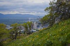 Над городским Солт-Лейк-Сити стоковая фотография rf