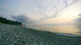 над заходом солнца моря Timelapse сток-видео