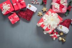 Над изображением взгляда воздушным счастливого Нового Года & с Рождеством Христовым концепции предпосылки Стоковое Изображение