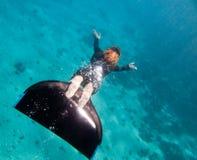 над красивейшими нижними swims моря девушки freediver Стоковая Фотография RF