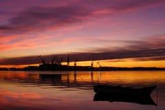над рисуночным заходом солнца моря Стоковое фото RF