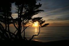 над Тихим океан заходом солнца Стоковые Изображения RF