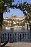 над vltava весны реки s prague замока готским Стоковые Фотографии RF