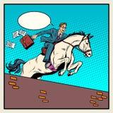 Наездник бизнесмена на лошади скачет над барьером иллюстрация вектора