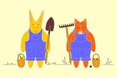 Наемные сельскохозяйственные рабочие кот и кролик Стоковые Изображения