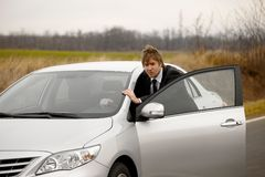 Нажатие автомобиля Стоковые Изображения RF