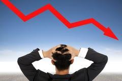 нажатие кризиса принципиальной схемы бизнесмена Стоковая Фотография RF