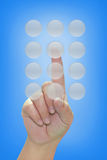 нажимать руки кнопки Стоковое Изображение