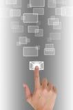 нажимать руки электронной почты кнопки Стоковое Изображение RF