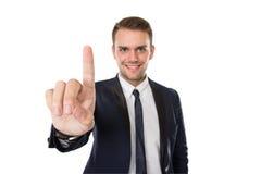 Нажим бизнесмена к виртуальному экрану Стоковое Изображение