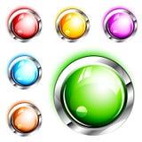 нажим икон пустых кнопок 3d лоснистый Стоковое Изображение
