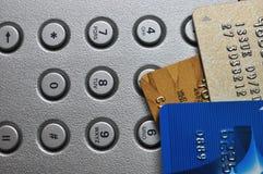 нажим 3 кредита карточки кнопки стоковое фото rf