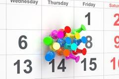 Нажмите штыри в календаре бесплатная иллюстрация