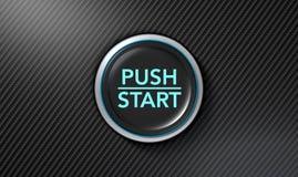 Нажмите для того чтобы начать кнопку волокна углерода Стоковые Фотографии RF