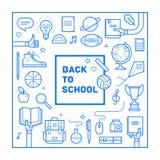 Назад к дизайну плаката или приглашения школы в ультрамодном линейном стиле Комплект различных школьных принадлежностей также век Стоковые Изображения