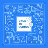 Назад к дизайну плаката или приглашения школы в ультрамодном линейном стиле Комплект различных школьных принадлежностей также век Стоковые Фото