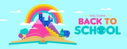 Назад к знамени сети школы для концепции чтения ребенк Стоковая Фотография